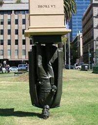 Upside down statue