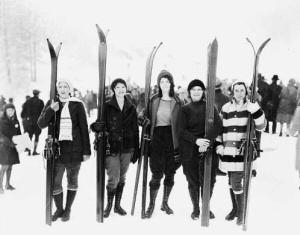 Five Women Posed with Skis