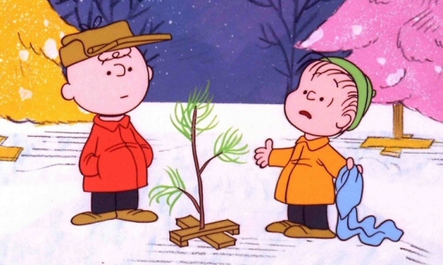Charlie Brown and Linus with the Christmas Tree