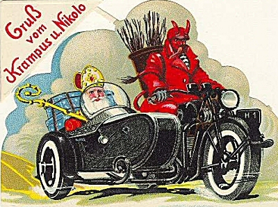 Santa Claus and Krampus on a motorcycle