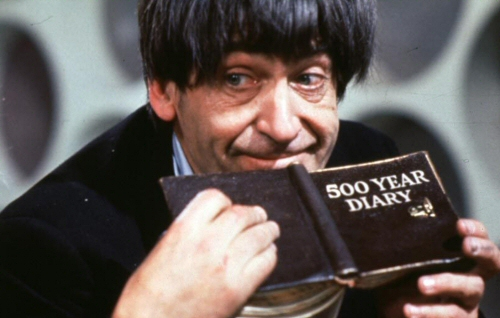 Patrick Troughton as The Doctor with his 500 Year Diary