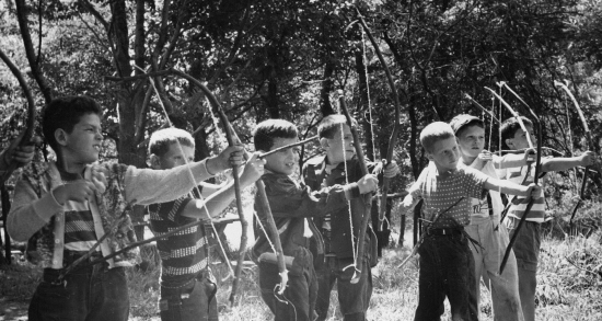 Boys Archery at Summer Camp
