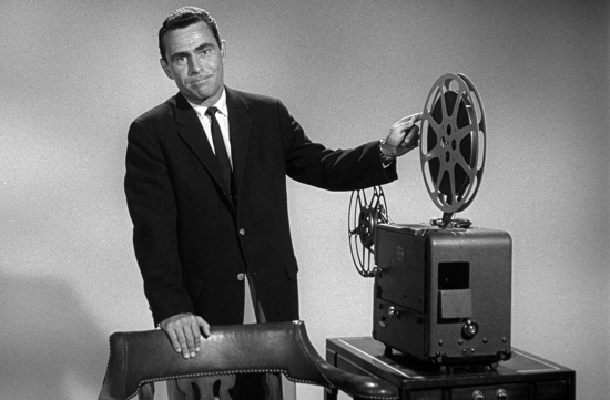 Rod Serling with film projector